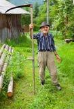 Oude landelijke mens die zeis met behulp van Stock Foto's