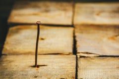 Oude lange roestige die krommespijker in een houten bar op een rustiek houten close-up wordt gehamerd als achtergrond Macro stock fotografie