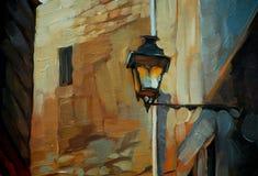 Oude lantaarn in Gotisch kwart van Barcelona royalty-vrije illustratie