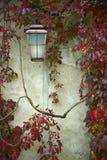 Oude lantaarn op de muur stock fotografie