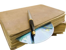 Oude laptop royalty-vrije stock afbeelding
