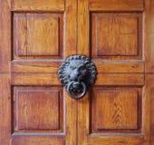Oude leeuw hoofdknop in het midden van een houten die deur in vierkanten wordt verdeeld royalty-vrije stock foto's