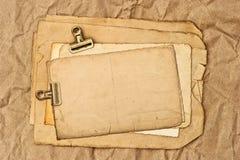 Oude lege document, prentbriefkaar en fotobladen Stock Afbeeldingen
