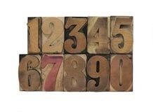 Oude letterzetsel houten aantallen Royalty-vrije Stock Afbeeldingen