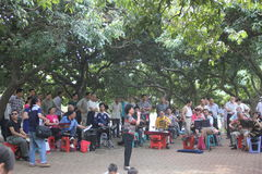 Oude literaire groep in het park Stock Foto