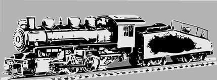 Oude locomotief stock illustratie