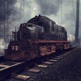 Oude locomotief op de sporen vector illustratie