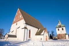 Oude Lutheran kathedraal van de 15de eeuw in de stad van Porvoo in de Februari-middag finland Stock Foto's