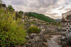 Oude Lycian-dorp en huizen van Kayakoy, Fethiye, Mugla, Turkije Spookstad Kayaköy, als Lebessos in vroeger tijden wordt bekend d royalty-vrije stock afbeelding