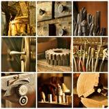 Oude machinewerkplaatscollage Royalty-vrije Stock Foto's