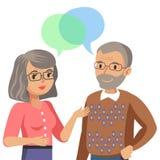 Oude man en het oude vrouwen spreken Bespreking van echtgenoot of vrienden Vector stock illustratie