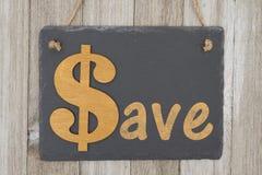 Oude manier sparen bericht op een retro teken Stock Fotografie