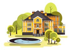 Oude manorvector stock illustratie