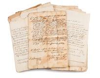 Oude manuscripten stock foto's