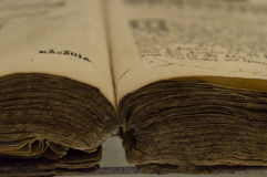Oude manuscriptenclose-up Royalty-vrije Stock Afbeeldingen