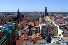 Oude markt in stad Wroclaw stock afbeelding