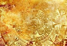 Oude Mayan Kalender, abstracte kleurenachtergrond Royalty-vrije Stock Fotografie