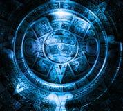 Oude Mayan Kalender, Kosmische ruimte en sterren, abstracte kleurenachtergrond, computercollage Stock Afbeeldingen