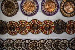 Oude Mayan Platen op Muur royalty-vrije stock foto