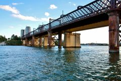 Oude Meadowbank-spoorwegbrug, NSW Stock Afbeelding