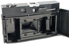 Oude mechanische achterkant SLR Royalty-vrije Stock Foto's