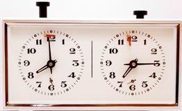 Oude mechanische klok voor schaakspel Royalty-vrije Stock Afbeeldingen