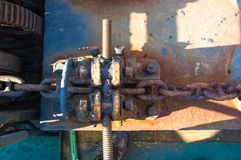 oude meertrosmechanismen van de overzeese boot stock foto's