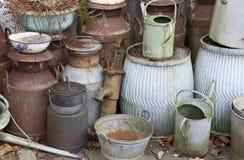 Oude melkkarntonnen Stock Foto