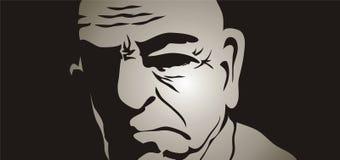 Oude mens in de schaduwen stock illustratie