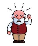 Oude mens die boos schreeuwen stock illustratie