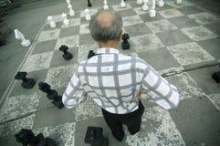 Oude Mens die de Overmaatse Raad van het Schaak speelt stock afbeelding