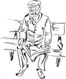 Oude mens die een krant leest Stock Afbeelding
