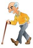Oude Mens die, illlustration lopen Royalty-vrije Stock Afbeelding