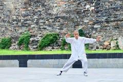 Oude mens die Tai Chia in een park uitoefenen, Xiang Yang, China Stock Foto's