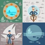 Oude mens en het overzees, zeeman, schepen, visserij Royalty-vrije Stock Afbeeldingen