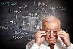 Oude mens en jargon Royalty-vrije Stock Afbeelding