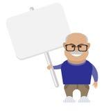 Oude mens met banner Royalty-vrije Stock Afbeelding