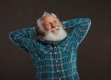 Oude mens met een lange baard met grote glimlach Royalty-vrije Stock Afbeelding