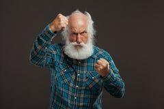 Oude mens met een lange baard met grote glimlach Royalty-vrije Stock Foto's