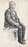 Oude mens op de stoel Stock Afbeeldingen