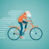 Oude mens op een fiets Stock Foto