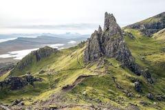 Oude mens van storr op het Eiland van Skye stock afbeelding