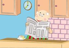 Oude mensen die een koffie drinken en een krant lezen Royalty-vrije Stock Foto's