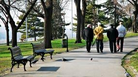 Oude mensen in park Royalty-vrije Stock Foto's