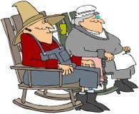 Oude Mensen in Schommelstoelen Stock Fotografie