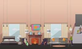 Oude mensen thuis vectorillustratie in vlakke stijl stock illustratie