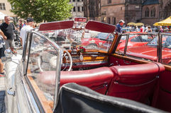 Oude Mercedes Benz-cabriolet - binnenland Stock Fotografie