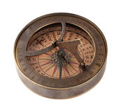 Oude Messingskompas en Zonnewijzer stock foto's
