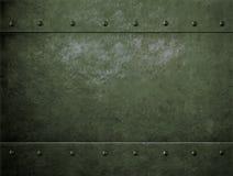 Oude metaal groene militaire achtergrond met klinknagels stock afbeelding