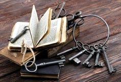 Oude metaalsleutels en uitstekend boek Stock Fotografie